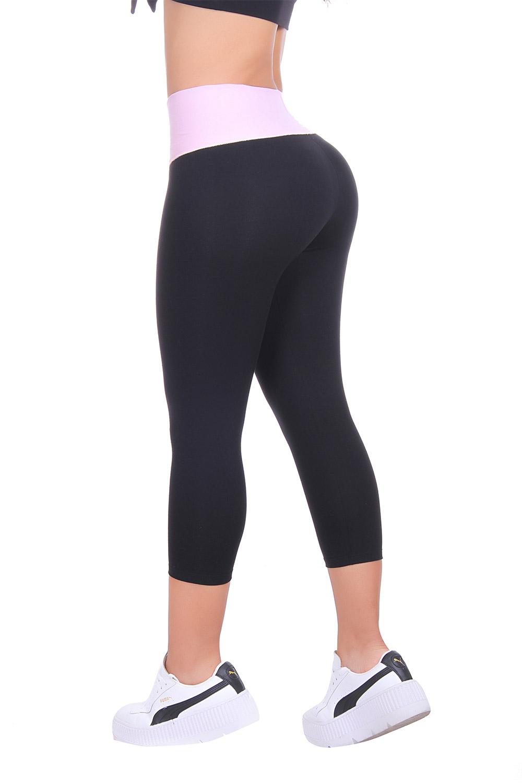 Black & Light Pink Color Capri Leggings Women's Leggings Inner Body Shaper